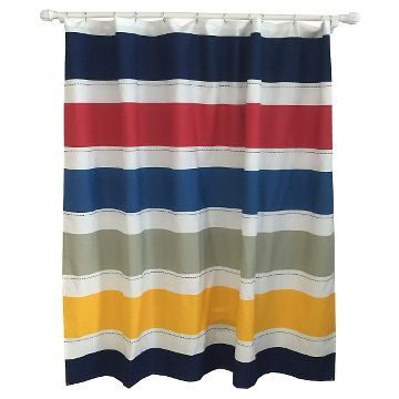Warm Rugby Stripe Shower Curtain Multicolored - Pillowfort™ kid bathroom