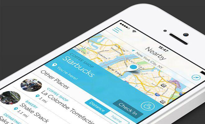 iphone app map ui checkin design