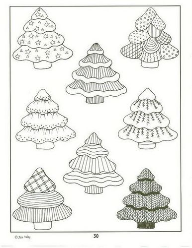 Doodled Christmas trees