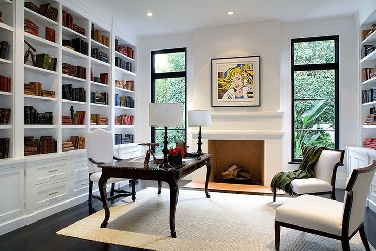 Home Office In A Spanish Revival Home With White Built In