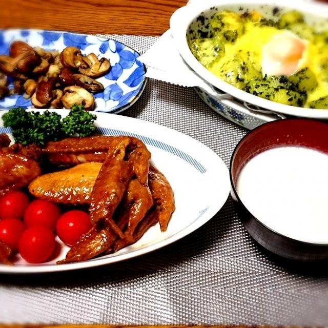 ・ブラウンマッシュルームのソテー ・パセリソースのポテトグラタン ・カリフラワーのポタージュ ・手羽先照煮 - 129件のもぐもぐ - パセリソースのポテトグラタン by madammay
