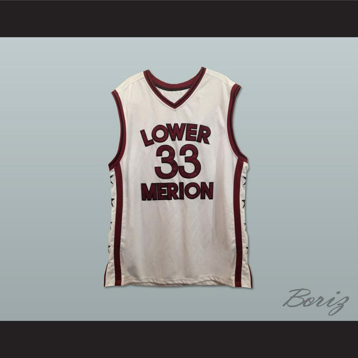 """Kobe Bryant Lower Merion High School Basketball Jersey White Side Stars. STITCH SEWN GRAPHICS  CUSTOM BACK NAME CUSTOM BACK NUMBER ALL SIZES AVAILABLE SHIPPING TIME 3-5 WEEKS WITH ONLINE TRACKING NUMBER Be sure to compare your measurements with a jersey that already fits you. Please consider ordering a larger size, if you prefer a loose fit. HOW TO CALCULATE CHEST SIZE: Width of your Chest plus Width of your Back plus 4 to 6 inches to account for space for a loose fit. Example: 18"""" wide…"""