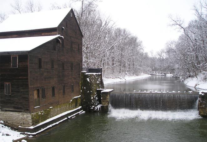 Pine Creek Grist Mill is located in the Wildcat Den State Park in #Muscatine, #Iowa. Built in 1848, the mill is now listed on the National Register of Historic Places. #GRRInterpretiveCenter
