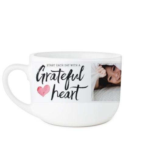 Grateful Heart Latte Mug, White, 25oz, White