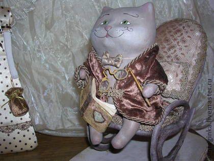 Коллекционные куклы ручной работы. Ярмарка Мастеров - ручная работа Винтажный кот Базиль. Handmade.