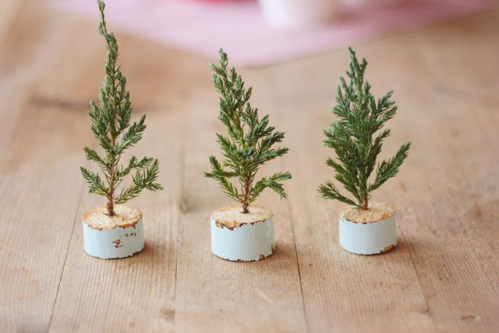 mini trees - (idea, use empty tea light cups with green florist foam in them to keep them moist.  make tiny ornaments using polymer clay, beads, string and wire)
