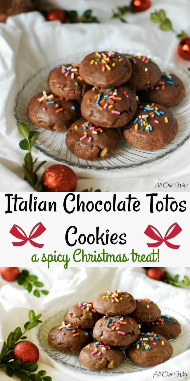 Italian Chocolate Totos cookies are a Spicy Christmas cookie recipe that is studded with walnuts and chocolate chips. Flavored with orange and glazed with chocolate and topped with colorful sprinkles.#Christmas_cookies, #Totos, #Italian_chocolate_cookies, #spice_cookies, #meatball_cookies, #allourway #christmascookies #christmasrecipes