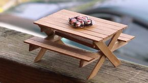 DIY Picnic Table and Bench made out of popsicle sticks -  dollhouse miniatures - YouTube