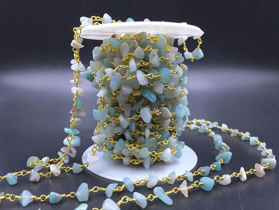 Amazonite Rosary Chain Wholesale Gemstone Chips Chain Wire Wrapped Jewelry Handmade Silver&Gold Rosary Style Chain Custom Length CCN