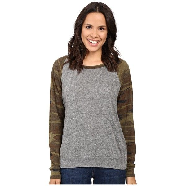 Alternative Printed Slouchy Pullover (Eco Grey/Camo) Women's... ($35) ❤ liked on Polyvore featuring tops, hoodies, sweatshirts, lightweight sweatshirts, grey pullover sweatshirt, grey pullover, camo sweatshirts and gray pullover