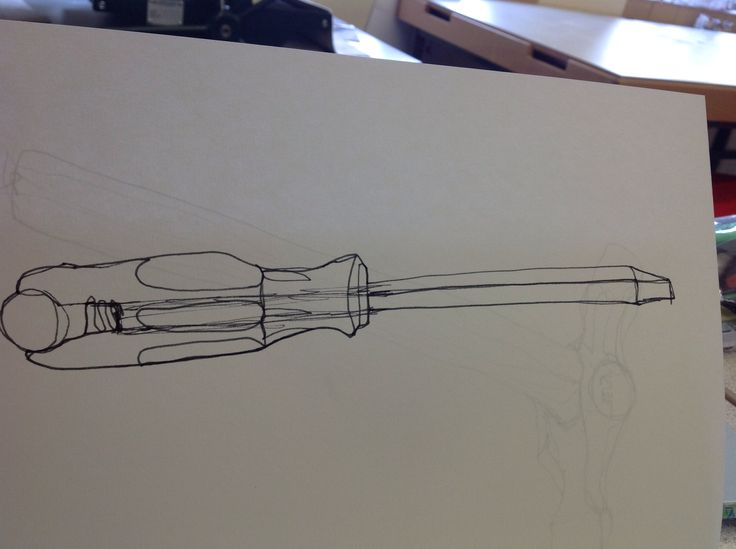 Right hand continuous line drawing of a screwdriver