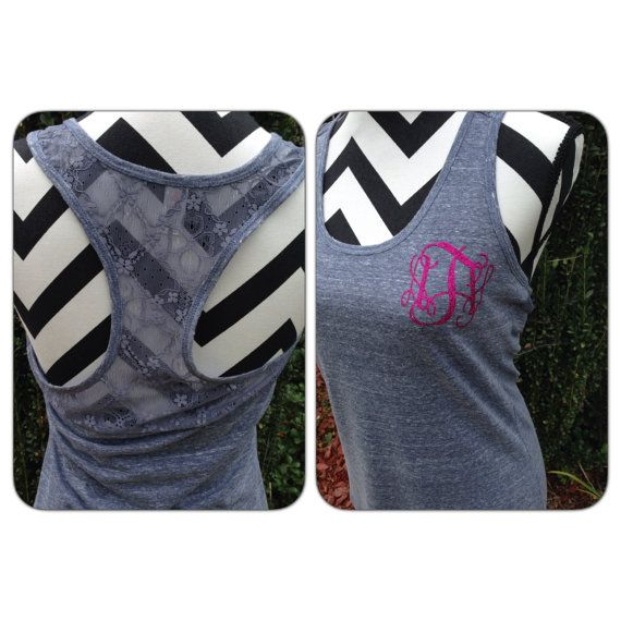 Monogram Tank Top Custom Sassy Glitter Tank by ThreeTeesBoutique, $20.00