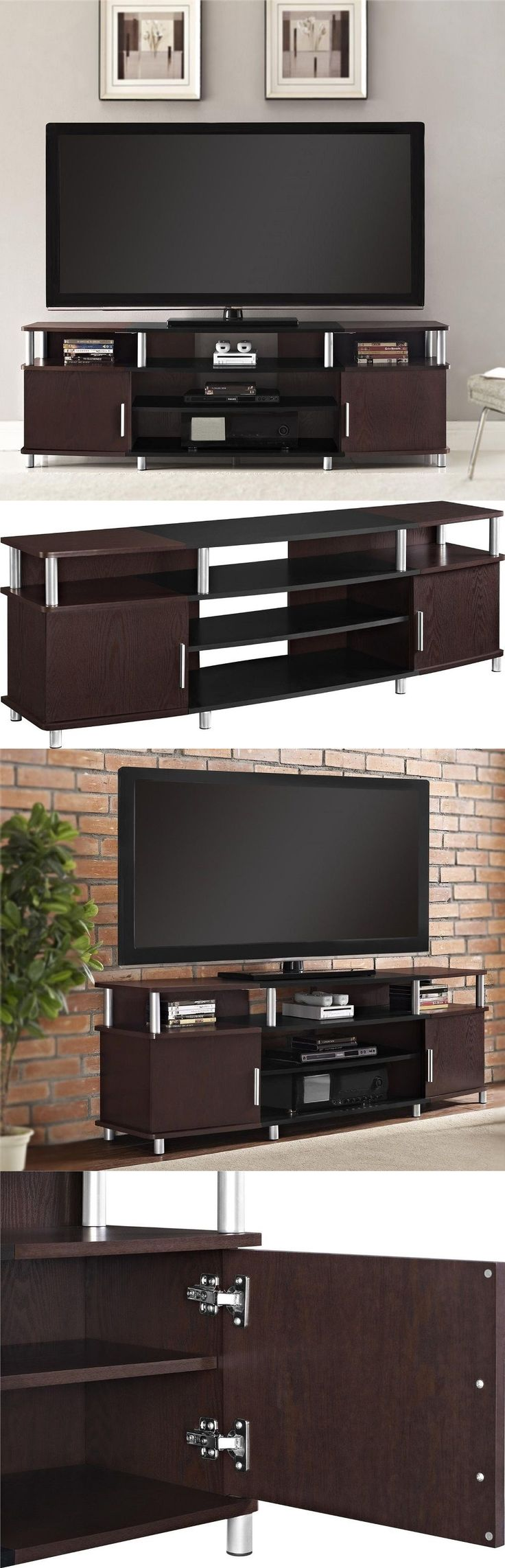 Entertainment Units TV Stands 20488: 70 Inch Tv Stand Black Cherry Wood Living Room Entertainment Center Gaming Media -> BUY IT NOW ONLY: $159.66 on eBay!