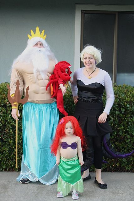 little mermaid costume cast- so cute! But, could I get Bill in a skirt??