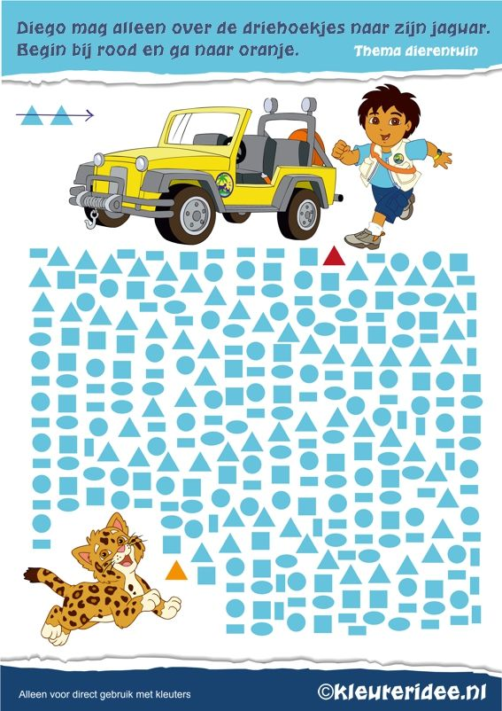 Vormen voor kleuters. Diego moet over de driehoekjes naar zijn jaguar, kleuteridee.nl , Preschool Diego shapes, free printable.