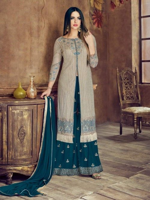 ae9192ac1 Amusing coral grey and navy blue wedding palazzo suit online which is  crafted from net fabric