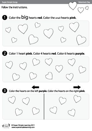 skidamarink color the hearts valentine 39 s day worksheet from super simple learning. Black Bedroom Furniture Sets. Home Design Ideas