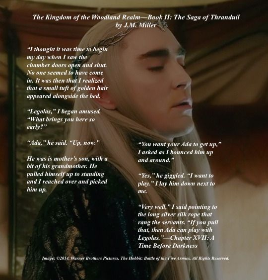 Thranduil has a moment in the morning with Legolas in Book II: The Saga of Thranduil Chapter XVII. #Thranduil. #BabyLegolas. #TolkienFanfiction.