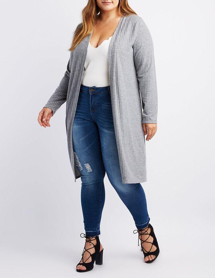 Plus Size Ribbed Longline Cardigan | Charlotte Russe