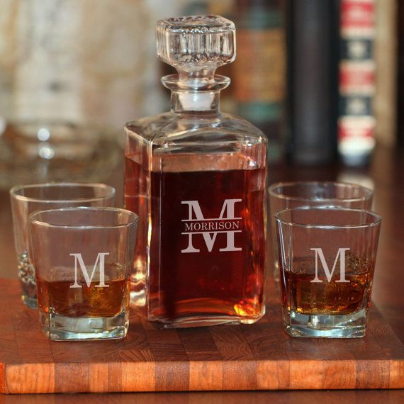 whiskey decanter and 4 rock glasses set with last name u0026 single initial g10112102 free - Whisky Decanter