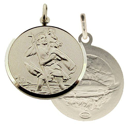 Solid 925 Sterling Silver Mens Gents Double Sided 22mm Round St Christopher Medal Pendant In Gift Box--18.99