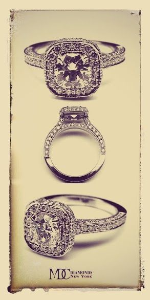 Double Diamond Halo Cathedral Vintage Engagement Ring YES PLEASE!
