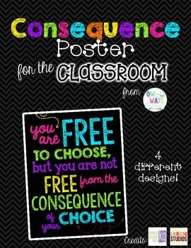 BRIGHT NEON COLORS & BLACK CHALKBOARD STYLE POSTERHang this adorable poster in your classroom for students to look at daily as a reminder that there are consequences for their actions.Thank you!Kristina Stankovich
