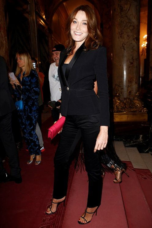 Carla Bruni at Balmain show during PFW S/S17