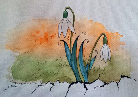 Original Painting, A4 size, snowdrop, easter, drawing and watercolor painting, wall decor, Spring Flowers.