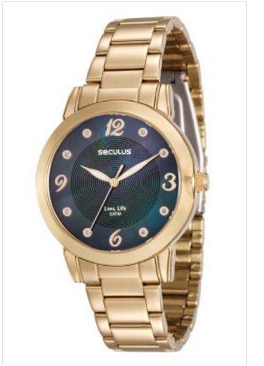 23553LPSVDA2 Relógio Feminino Dourado Seculus Analógico | Guest Club