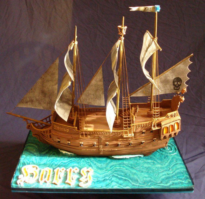 Cake Designs Pirate Ship : 45 best Gingerbread - Boats and Ships images on Pinterest ...