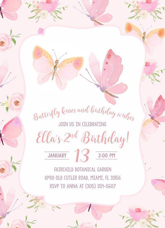 Butterfly Birthday Invitation Butterfly Invitation Pink Butterfly Birthday Invitation Girl 1st First Birthday Party Invitation Butterfly Birthday Invitations Butterfly Invitations Butterfly Birthday