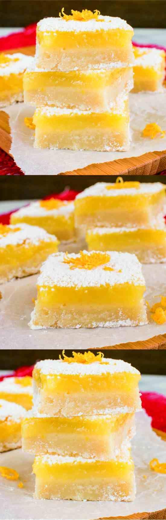 BEST LEMON BARS - baked, bars, butter, dessert, fresh, lemon juice, recipes