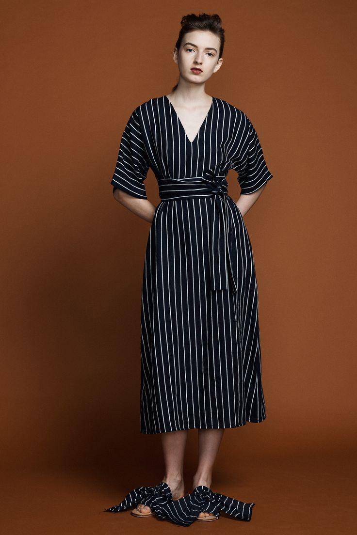 Kyoto Dress- Navy Pinstripe