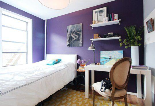 Paint Color Portfolio: Deep Purple Bedrooms Love this purple, the Betty Rug, Parsons desk and RH chair