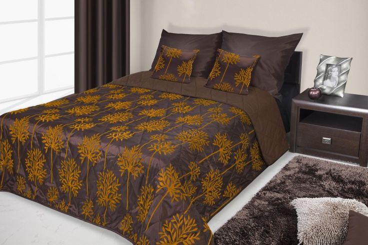 Francouzské přehozy na postel hnědé s oranžovými motivy