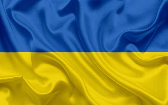 Download wallpapers Ukrainian flag, Ukraine, Europe, national symbols, silk flag