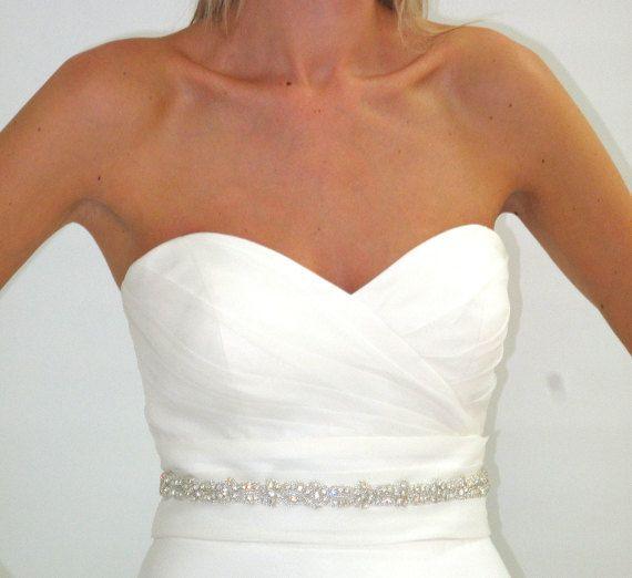 Sparkly crystal rhinestone wedding dress belt by FlorenceandRose, $75.00