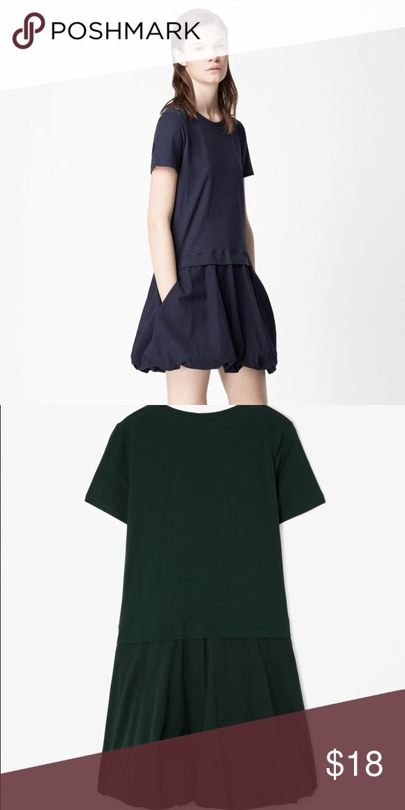 Green Bubble Hem COS Dress - Size Small This cotton dress has a soft jersey top half and a woven bottom half with side seam pockets. Slightly A-line towards the hem, it has a dropped waist with bubble hem. COS Dresses