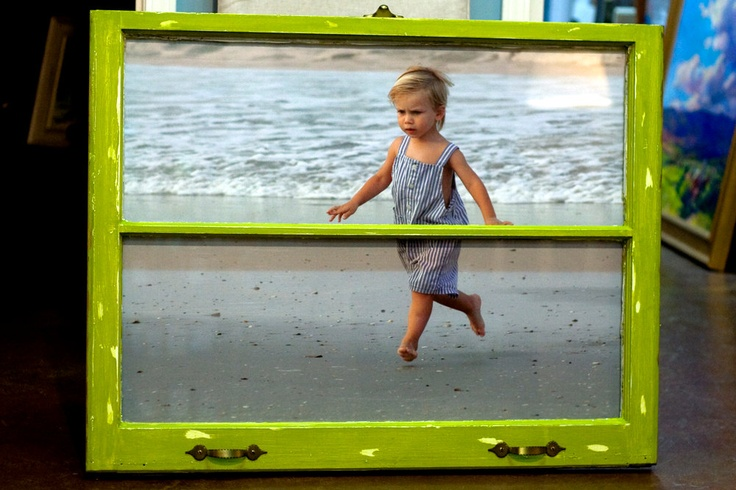 Vintage Window Frame with Your Photo, handpainted with green chalk paint and distressed