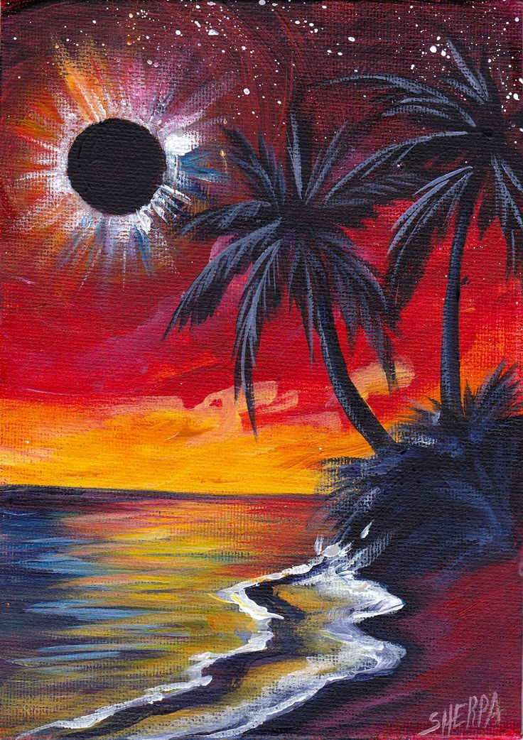 Totality Beach An Eclipse painting acrylic on canvas by The Art Sherpa www.theartsherpa.com