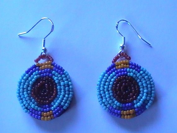 Blue Blackfoot Earrings Beaded on Leather OOAK by dragonflyridge, $20.00