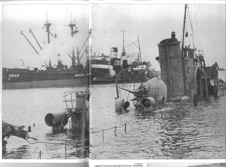 Wreck of bombed ORP Mazur in port of Oksywie, Poland. Photograph taken in late 1939.
