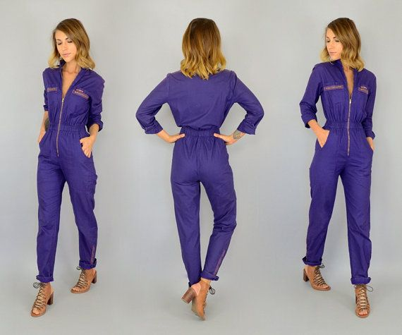 80's Violet JEAN ST. GERMAIN | Paris romper Mechanic rocker punk Jumpsuit coveralls, extra small-small
