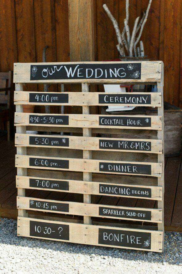 pallets wedding event times
