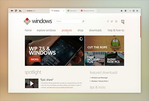 Windows Desktop UI Concept - Internet Explorer
