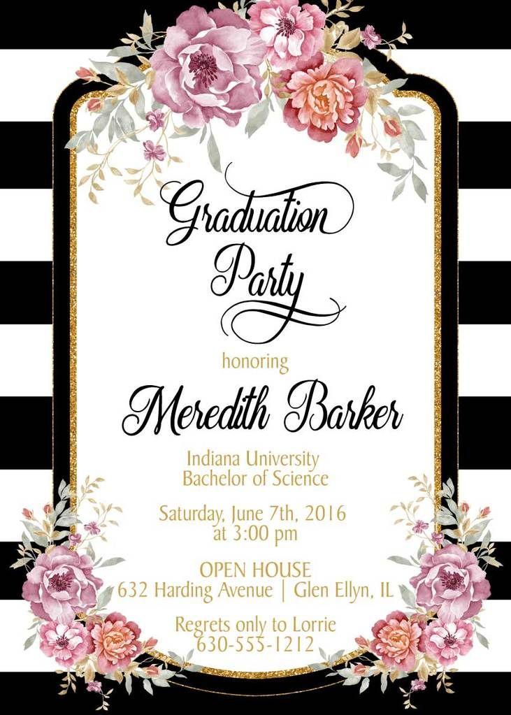 Black And White Stripes Graduation Invitation Invitaciones