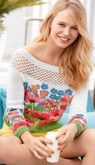 Пуловер Цветочный луг спицами