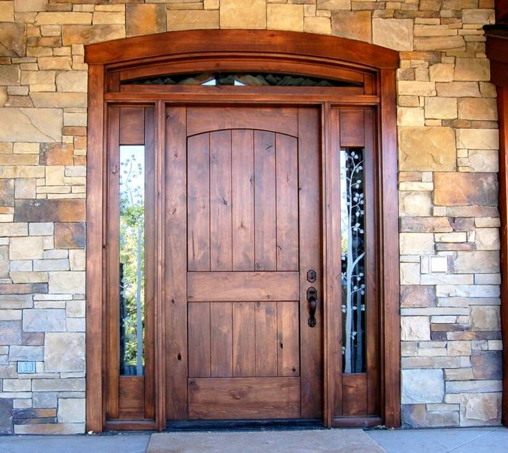 Exterior, : Innovative Rustic Door For Exterior Entryway With Solid Wood And Double Sidelight With Latticework
