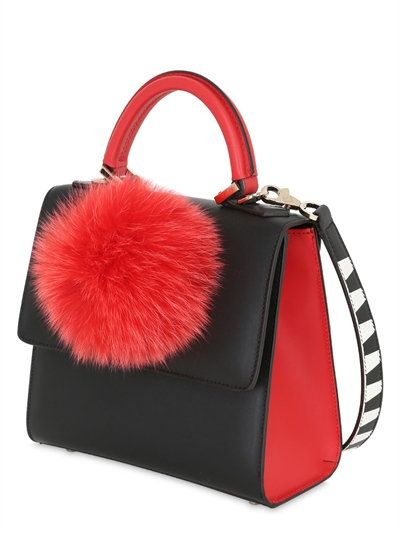 LES PETITS JOUEURS | MINI ALEX POMPOM LEATHER TOP HANDLE BAG - BLACK/RED
